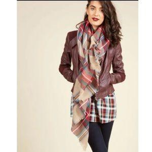 ModCloth Tartan Plaid Blanket Scarf/Wrap Acrylic